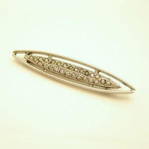 INTEGRITY STERLING Silver Art Deco Vintage Bar Brooch Pin Rhinestones Paste Lingerie Oval