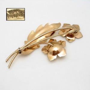 NAPIER STERLING Vintage Brooch Pin Mid Century 1940s Large Rose Flower Retro Gold Vermeil
