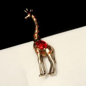 REJA STERLING Large Vintage Giraffe Brooch Pin Mid Century Silver Retro Red Crystals Figural Gold Vermeil