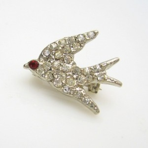 Vintage Rhinestone Bird Scatter Brooch Pin Mid Century Red Eye Charming Dainty Sparkling EUC