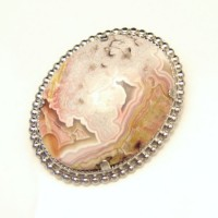 Mid Century Crazy Lace Agate Vintage Brooch Pin Natural Stone Large Cabochon