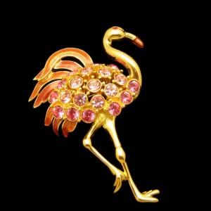TRIFARI  Vintage Pink Flamingo Brooch Pin Enamel Rhinestones Huge Striking
