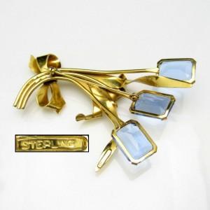 STERLING Silver Vermeil Vintage Brooch Pin Mid Century Retro Huge Blue Glass Flowers