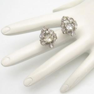 BOGOFF Vintage Rhinestone Rhodium Leaf Earrings Mid Century Screw Back High End Very Elegant