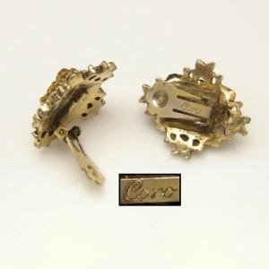 CORO Vintage Cameo Clip Earrings Mid Century Heraldic Knights Design