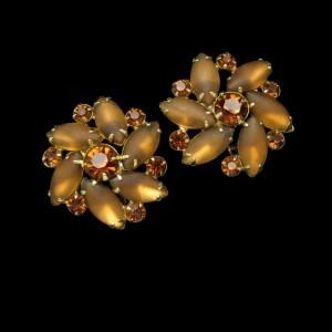 D&E Juliana Vintage Earrings Satin Glass Mid Century Topaz Rhinestones Clips Large Prong Set