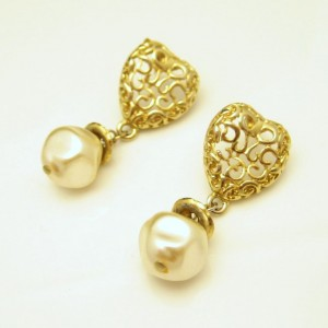 Vintage Earrings Mid Century Filigree Heart Baroque Faux Pearls Dangles Chunky Love Sweet