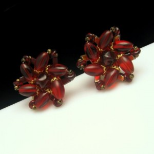 Vintage Clip Earrings Mid Century Large Red Glass Beads Gorgeous Color Bold Chunky