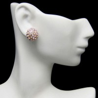 Vintage Post Earrings Dainty Domed Pink Rhinestones Small Sparkly