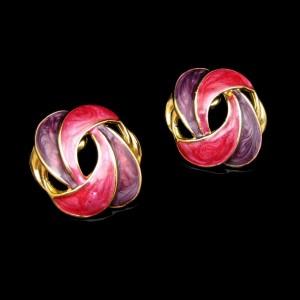 Vintage Post Earrings Red Purple Enamel Elegant Ribbon Swirls Gold Plated