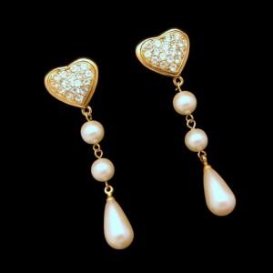 Vintage Earrings Mid Century Rhinestone Hearts Faux Pearls Dangles Long Pierced Chunky