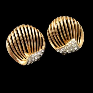 Vintage Rhinestone Clip Earrings Mid Century Rose Goldtone Open Circles High Quality