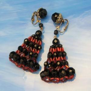 Rare Vintage Jonne Schrager Dangle Clip Earrings Red Black Crystals Fabulous
