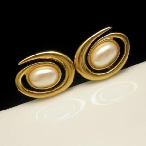 MONET Vintage Clip Earrings Mid Century Large Faux Pearls Atomic Modernist Goldtone