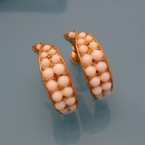 NAPIER Vintage Clip Earrings White Milk Glass Beads Mid Century Pretty Hoops Statement