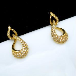 NAPIER Vintage Post Earrings Mid Century Rhinestone Dangles Shiny Goldtone Swirls Elegant