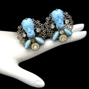 Signed Selro Vintage Clip Earrings Rare Blue Devil Genie Faces Figural