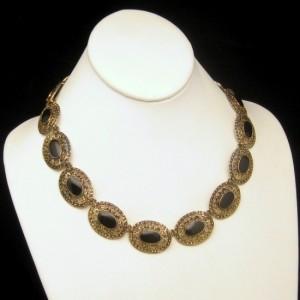 Victorian Style Vintage Necklace Mid Century Filigree Black Stones Antiqued Goldtone