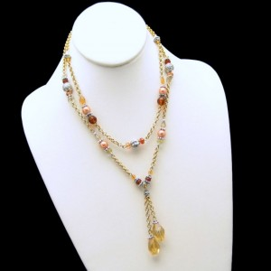AVON Vintage Necklace Mid Century 2 Multi Strand Glass Beads Peach Amber Rolo Chain