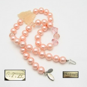 Vintage Necklace Mid Century Pink Rose Quartz Butterfly Pendant Crystal Beads Faux Pearls