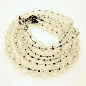 EXPRESS Vintage Necklace 3 Multi Strand Crystal Beads Striking Pretty Sparkling