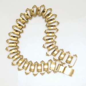Vintage Book Chain Necklace Victorian Style Mid Century Etched Large Chunky Links