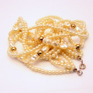 Vintage Faux Pearls Necklace Mid Century Torsade Multi 4 Strands Beads Bridal Classic