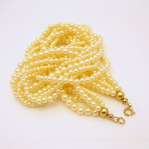 Vintage Faux Pearls Necklace Mid Century Torsade 6 Multi Strand Bridal Classic Style