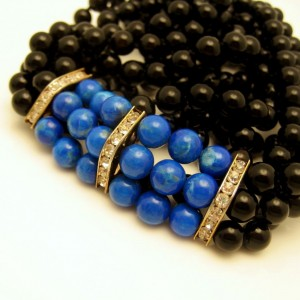 Vintage Glass Beads Necklace Mid Century 3 Strands Faux Onyx Lapis Long Very Elegant