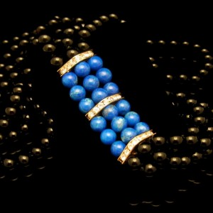 Vintage Glass Beads Necklace Mid Century 3 Strands Faux Onyx Lapis Long Very Elegant