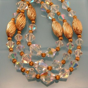 Vintage AB Crystal Beads Necklace Mid Century Chunky Fluted 3 Multi Strand Gold Plated SLIM NECK