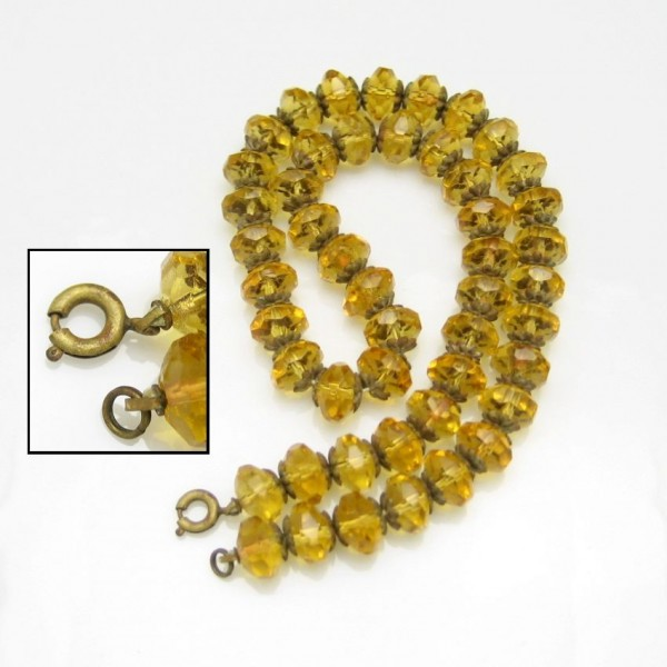 Art Deco Czech Crystal Yellow Glass Beads Vintage Necklace