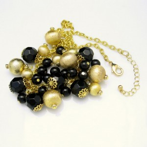 Art Deco Style Vintage Necklace Black Glass Crystals Dangle Beads Chunky Runway Matte Goldtone