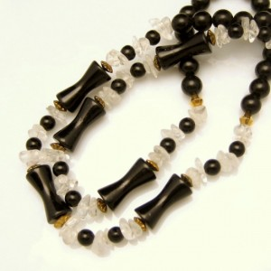 Vintage Glass Beads Necklace Mid Century Black Hourglass Round Clear Nuggets Long