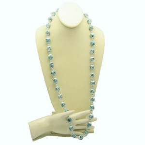 Mid Century Vintage Necklace Art Glass White Blue Black Beads Chunky Fluted Unique Long