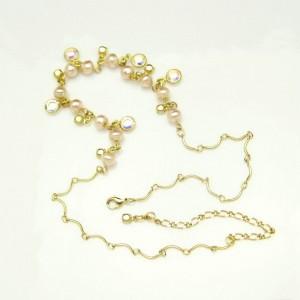 Vintage Necklace Mid Century Bezel Set Clear Crystals Faux Pearls Rhinestones Elegant