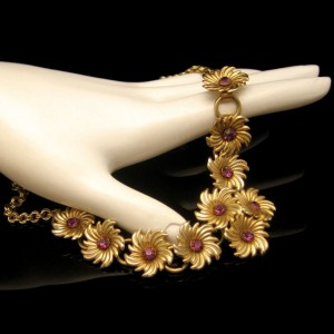 Vintage Rhinestone Necklace Mid Century Choker Purple Rhinestone Flower Links