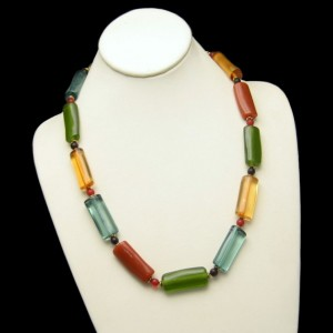 Vintage Necklace Long Lucite Tube Beads Bright Colors Very Unique