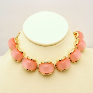 Vintage Lucite Necklace Pink Moonglow Stones Mid Century Choker Retro Chunky