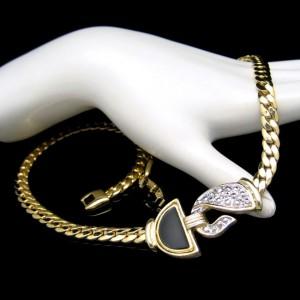 Vintage Necklace Mid Century Black Enamel Beaded Silvertone Pendant Thick Chain Very Classy