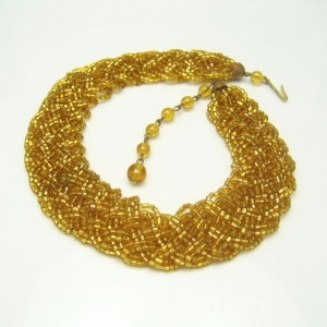 Vintage Glass Beads Choker Necklace Mid Century Yellow Braided Wide 12 Multi Strands