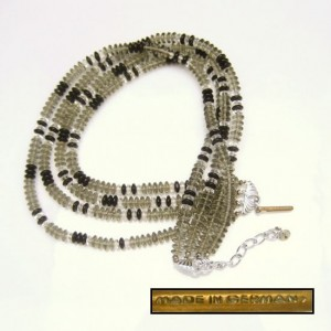 GERMANY Vintage Glass Beads Necklace Mid Century Gray Black Clear 4 Multi Strands Chunky