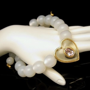 GIVENCHY Vintage Necklace Moonglow Lucite Beads Jelly Belly Heart Purple Glass
