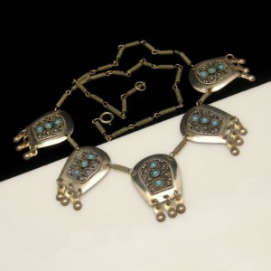 Israel 925 Sterling Silver Vintage Necklace Turquoise Beads Mid Century Ornate Arabesque