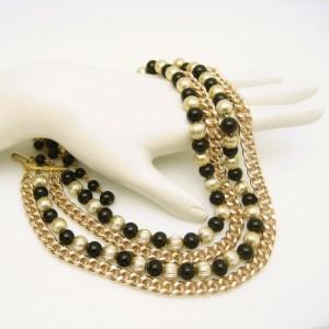 JAPAN Vintage Necklace Mid Century 4 Multi Strand Beads Black Goldtone Fluted Chunky