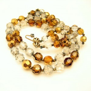 MARVELLA Vintage Necklace Mid Century Topaz Crystal Beads Gold Plated 2 Multi Strand 1960s