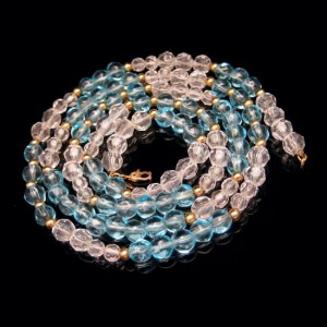 MONET Vintage Necklace Mid Century Blue Glass Beads Faux Crystals Pretty Aqua 36 inches Long
