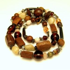 Vintage Necklace Large Wood Glass Metal Polished Gemstones Beads Long Length