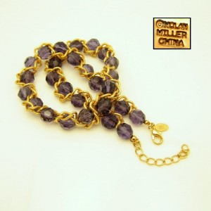 Nolan Miller Vintage Purple Crystal Beads Necklace Caged Braided Chain