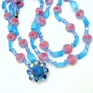 Vintage Givre Glass Crystal Beads Necklace Mid Century 2 Strands Multi Blue Pink Chunky